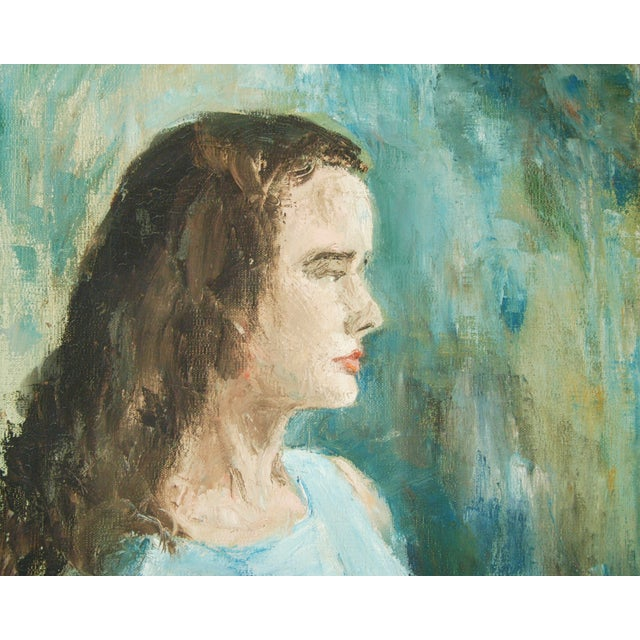 Mid-Century Lady in Blue Oil on Canvas Portrait - Image 3 of 8