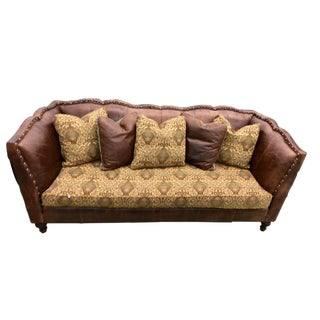 Americana Vanguard Furniture Brown Leather Sofa For Sale