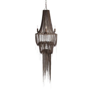 Yale 4 Light Cascading Chain Chandelier in Silver For Sale