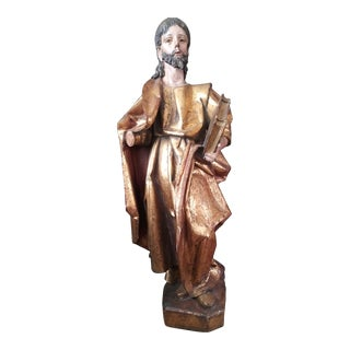 """17th Century """"Santo Pablo"""" Spanish Carved Gilt and Polychrome Wood Figure For Sale"""