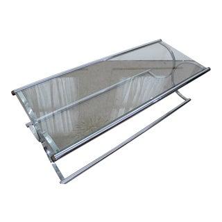 Mid Century Modern tubular chrome and glass x base coffee table