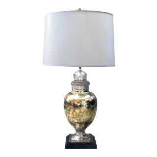 A shimmering American 1940's mercury-mirror apothecary jar now mounted as a lamp For Sale