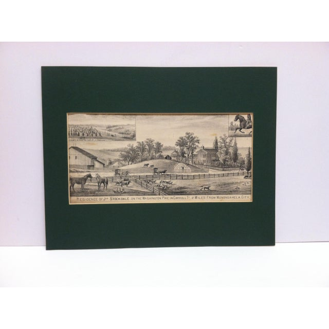 "Vintage Matted Print, ""Residence of Jas. Stockdale"" For Sale In Pittsburgh - Image 6 of 6"
