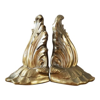 Mid Century Gold Metal Bookends, a Pair For Sale