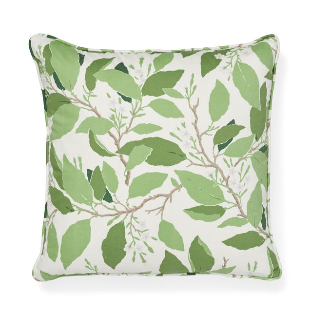Schumacher Schumacher X Miles Redd Dogwood Leaf Pillow in Ivory For Sale - Image 4 of 5