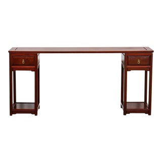 Mid-Century Chinese Rosewood Three Part Pedestal Desk For Sale