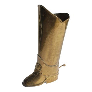 1930's Vintage English Brass Boot Umbrella Stand For Sale