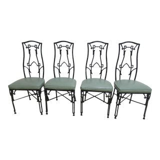 Vintage Faux Bamboo French Regency Aluminium Dining Chairs - Set of 4
