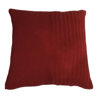 Extra Large Red Cable Pillows - A Pair For Sale