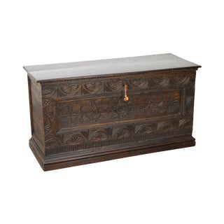 Antique 18th Century Oak Lidded Chest Coffer For Sale