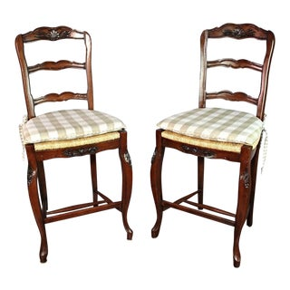 French Provincial Counter Stools - A Pair For Sale