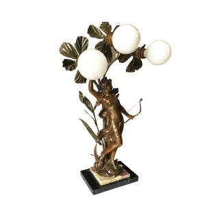 Early Three Bulb Art Nouveau Figural Bronze and Marble Table Lamp For Sale