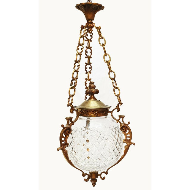 Bronze C1880-90 French Antique Louis XVI Style Bronze W/ Cut Crystal Lantern/ Pendant Fixture by Baccarat For Sale - Image 8 of 8