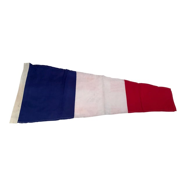 Vintage Nautical Blue, White & Red Ship Flag For Sale