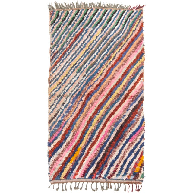 Vintage Mid-Century Moroccan Transitional Pink and Blue Multicolor Wool Rug - 3′10″ × 6′4″ For Sale In New York - Image 6 of 6