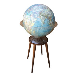 National Geographic Globe on Teak Stand For Sale