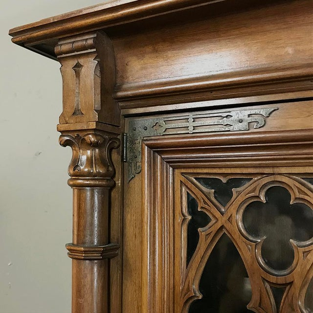 19th Century Gothic Walnut Triple Bookcase For Sale - Image 9 of 12