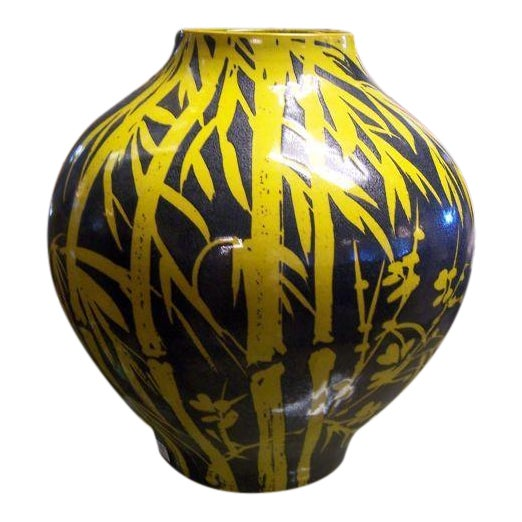 Yellow Bamboo Glazed Terracotta Vase For Sale