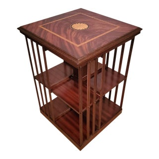 Antique English Edwardian Period Flame Mahogany Revolving Bookcase For Sale
