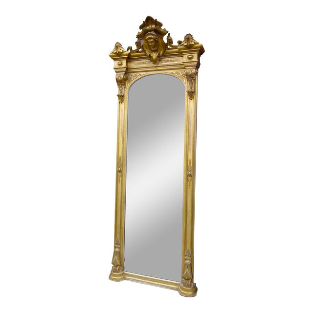 1820 Antique Renaissance Revival Gold Gilt Pier Mirror With Bust of Columbia For Sale