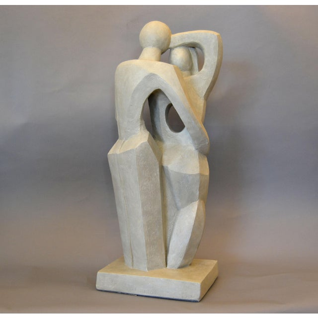 Modern Abstract Geometric Embracing Loving Couple Sculpture in Gray Plaster For Sale - Image 10 of 13