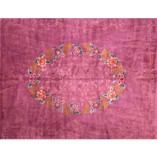 1920s Antique Chinese Art Deco Rug-9′ × 11′8″ For Sale