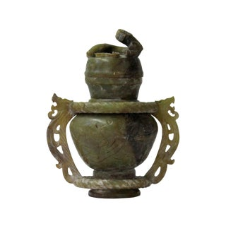 Hand Carved Ancient Style Chinese Jade Stone Double Ring Vase With Dragon Lid Statue For Sale