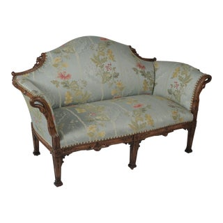 1900s French Hand Carved Loveseat Settee With Silk Scalamandre Fabric