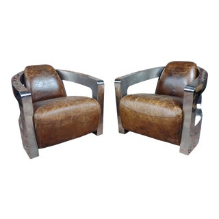 1970s English Aviator Distressed Brown Leather Club Chair - a Pair For Sale
