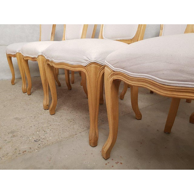 Set of 8 Louis XV French Natural Oak Dining Chairs Upholstered in Belgian Linen For Sale - Image 10 of 13