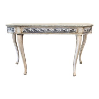Italian Painted Demi-Lune Console Table With Greek Key Motif - 19th C For Sale