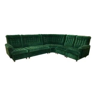Mid Century Green Velvet Tufted Sectional Sofa For Sale