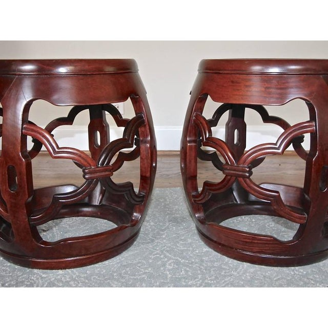 1950s 1950s Chinese Asian Hardwood Garden Seat Stools - a Pair For Sale - Image 5 of 10