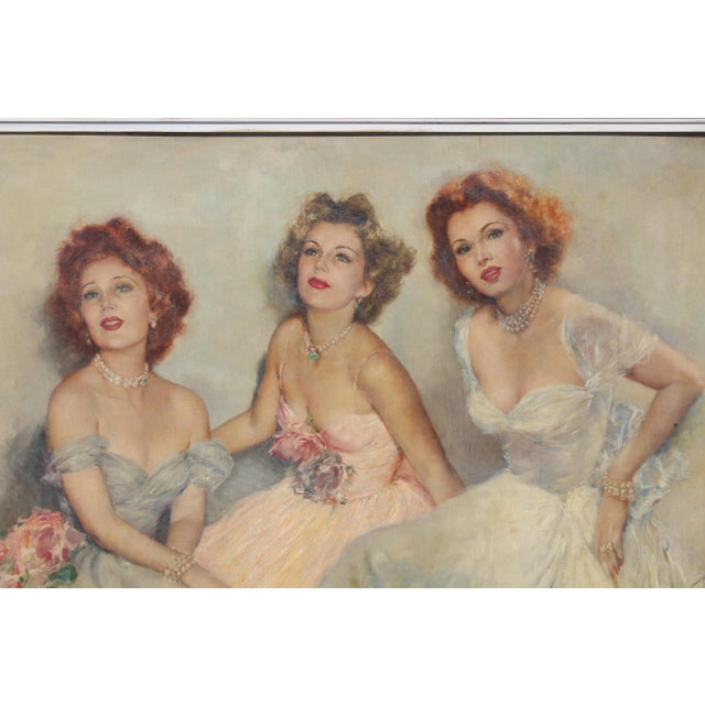 "Gray Mid 20 C. Massive Painting of ""Gabor Sister"" by Artist Pal Fried For Sale - Image 8 of 10"