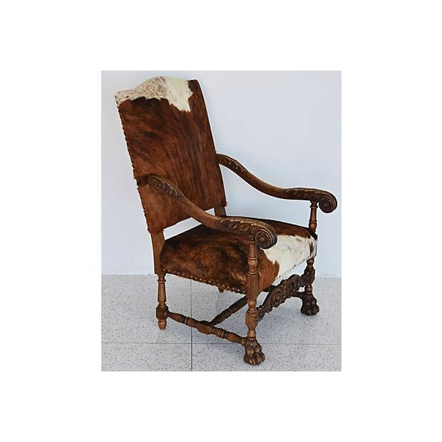 Antique Carved Oak & Cowhide Throne Armchair - Image 7 of 12