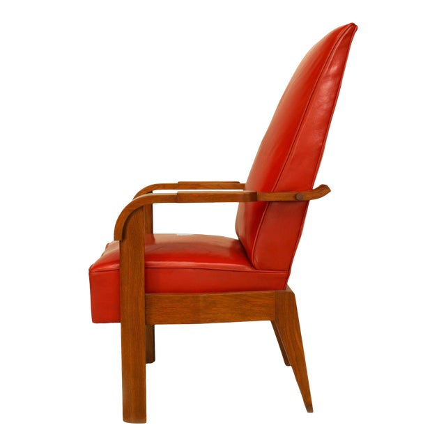 French Oak Red Leather Arm Chair For Sale
