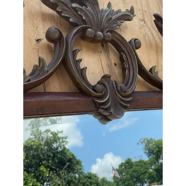 Mid 20th Century Vintage Chinoiserie Gesso Over Wood Birds Mirror For Sale - Image 5 of 10