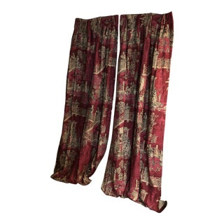 Asian Inspired Chinoiserie Patterned Drapes - a Pair For Sale
