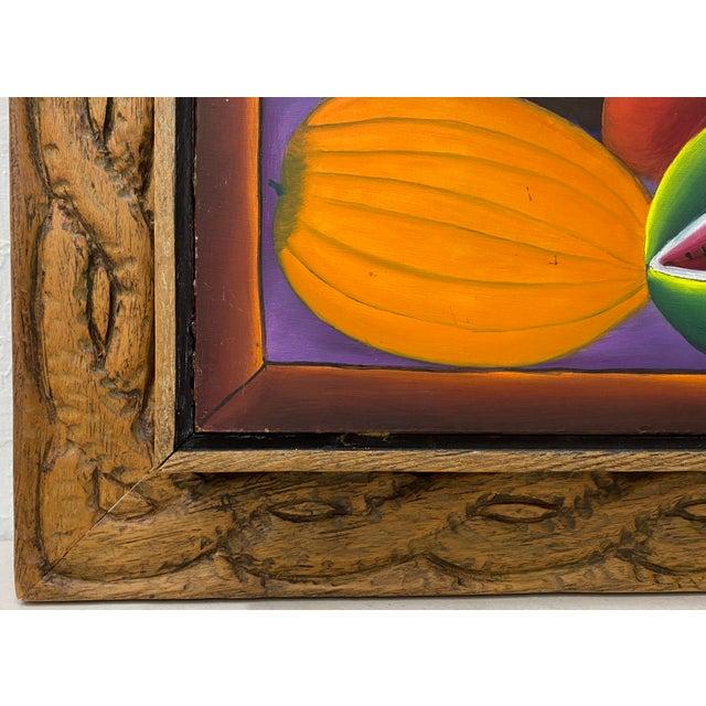 "Haitian Artist Alberoi Bazile ""Fruit"" Still Life Oil Painting in Hand Carved Frame C.1970 Original painting on masonite..."