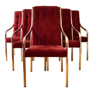1970s Hollywood Regency Brass and Tufted Velvet Dining Chairs by Chromcraft - Set of 6 For Sale