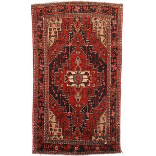 RugsinDallas Hand Knotted Wool Persian Hamadan Rug - 4′7″ × 7′8″ For Sale