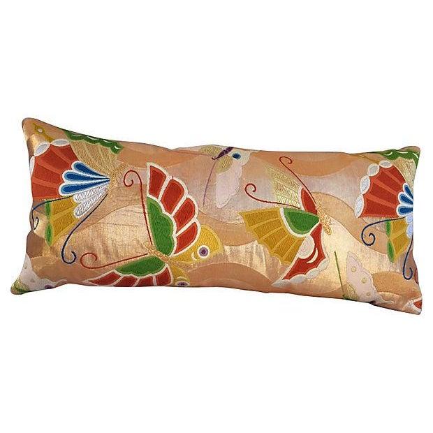 Japanese Buttlerfly Metallic Obi Pillow For Sale
