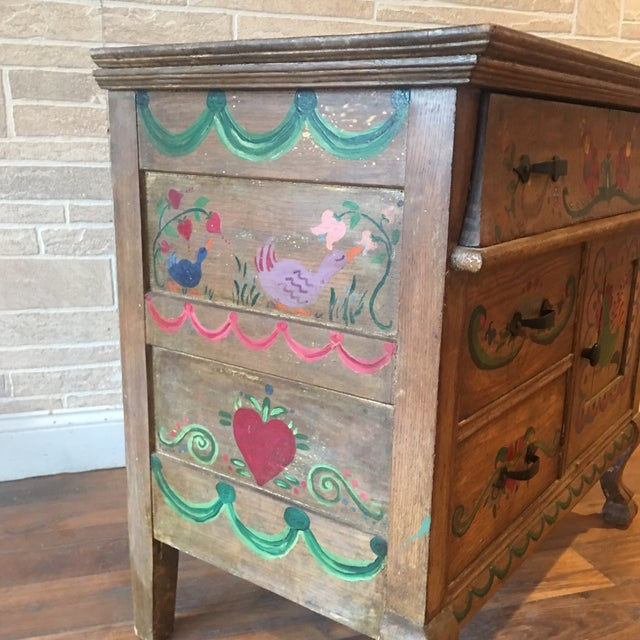 Early 21st Century Dutch Folk Art Painted Oak Chest For Sale - Image 11 of 13