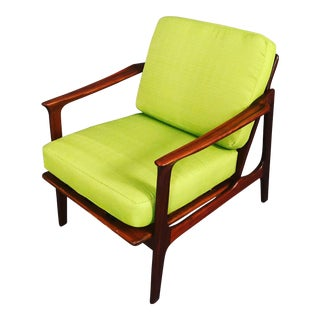 1960s Mid-Century Danish Modern Green Cushion Teak Arm Chair
