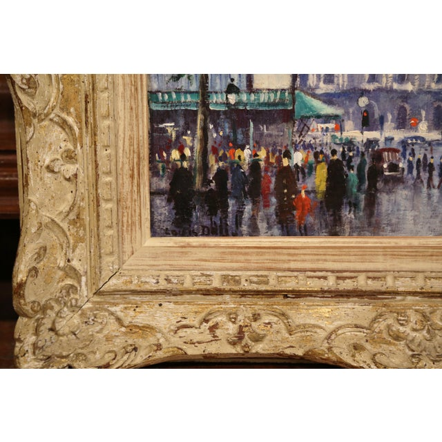 Beige Pair of Mid-20th Century French Paris Paintings in Carved Frames Signed L. Dali For Sale - Image 8 of 12