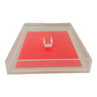 1960's Vintage Lucite Desk Letter Tray For Sale