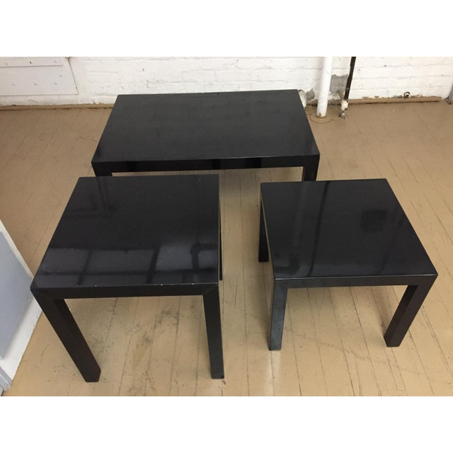 Vintage 1970's Black Lacquer Occasional Tables - Set of 3 For Sale - Image 12 of 12