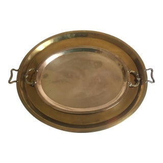 Vintage Mid-Century Moroccan Brass Large Tea Serving Trays - a Pair For Sale