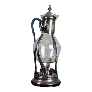 1930s Glass Pitcher With Gorham Heater For Sale