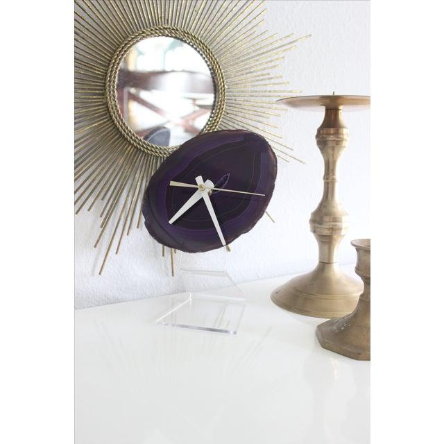 Minimalist Purple SoLo Agate Clock on Lucite - Image 3 of 8